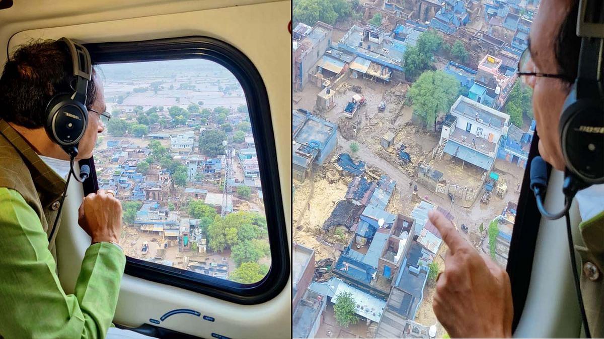 दतिया, शिवपुरी, श्योपुर जिले के बाढ़ प्रभावित क्षेत्रों में CM शिवराज का हवाई दौरा