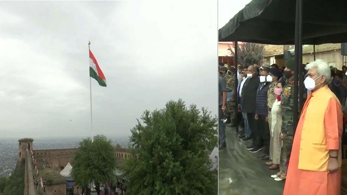 कश्मीर के हरि पर्वत किले पर लहरा 100 फीट ऊंचा राष्ट्रध्वज-LG सिन्हा ने किया अनावरण