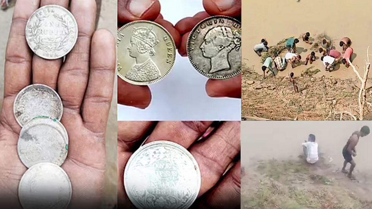 Shivpuri: बाढ़ में बहकर आए चांदी के सिक्के, ग्रामीणों में सिक्के के लिए मची लूटमार