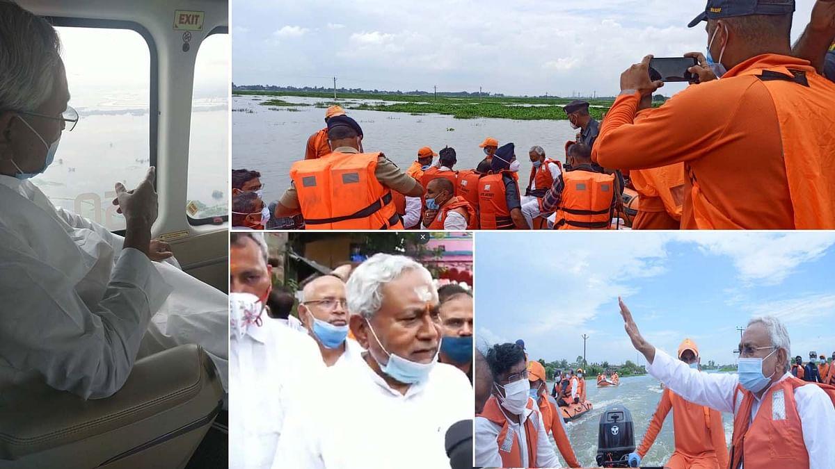 बिहार के CM नीतीश ने जलमग्न क्षेत्रों का बोट से किया सर्वेक्षण- लोगों का जाना हालचाल