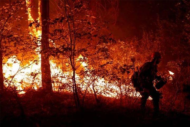 US : कैलिफोर्निया के जंगल में लगी आग से उठी लपटों की चपेट में आए दर्जनों घर