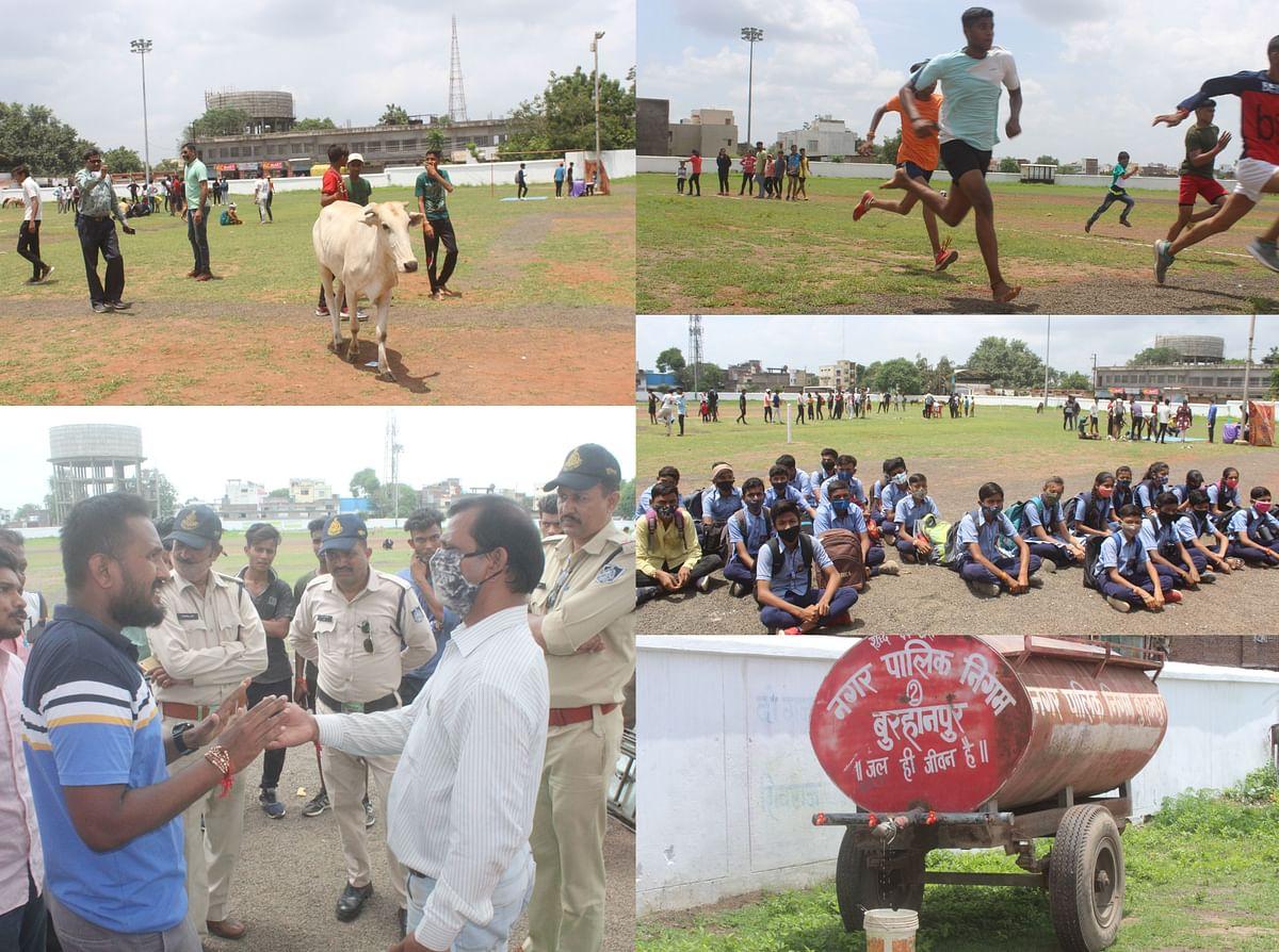 Burhanpur : अव्यवस्थाओं के बीच नेहरू स्टेडियम में टैलेंट सर्च शुरू