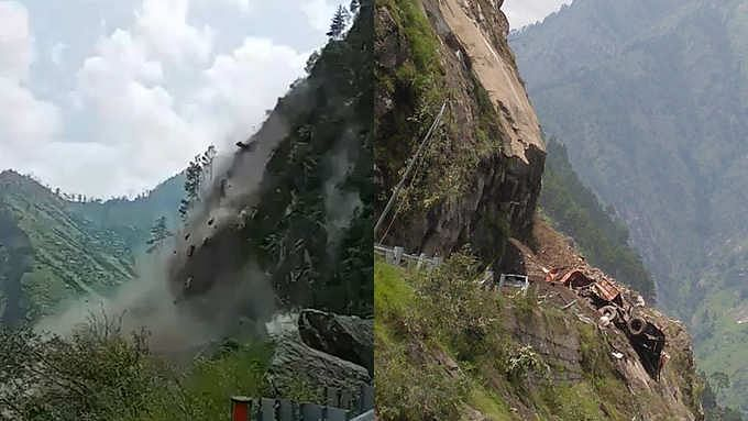 हिमाचल प्रदेश : किन्नौर में भीषण लैंडस्लाइड से मलबे में दबे बस सहित कई वाहन