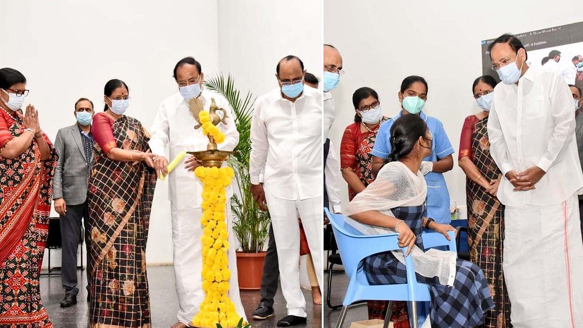 हैदराबाद में उपराष्ट्रपति नायडू ने निःशुल्क कोविड टीकाकरण अभियान का शुभारंभ किया