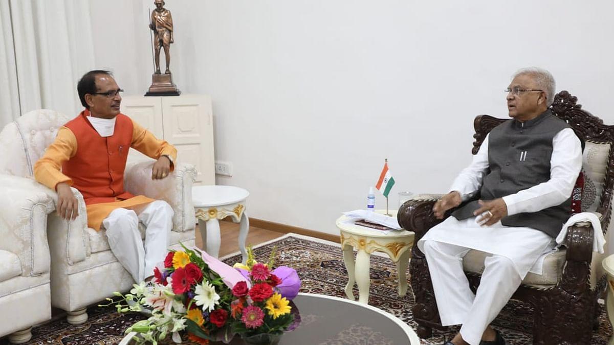 राजभवन पहुंचकर CM शिवराज ने आज राज्यपाल मंगुभाई पटेल से की सौजन्य भेंट
