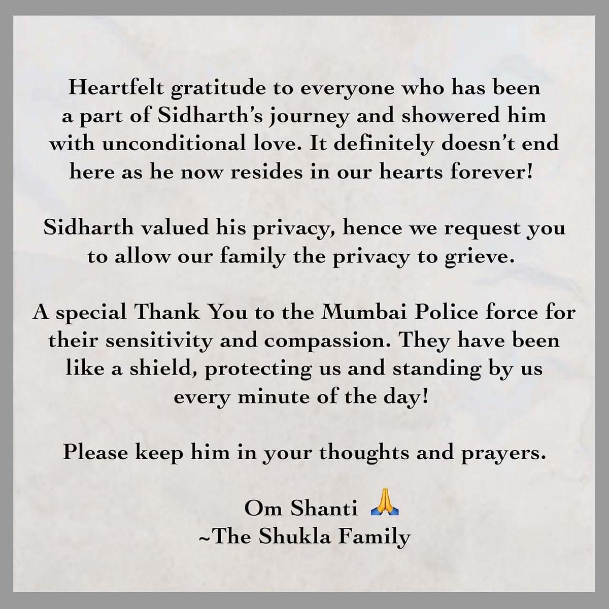 सिद्धार्थ शुक्ला के परिवार ने जारी किया बयान