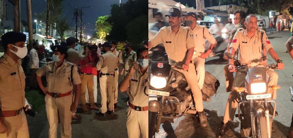 Indore : शाम से चेकिंग, बाइक गश्त लगाते दिखे टीआई