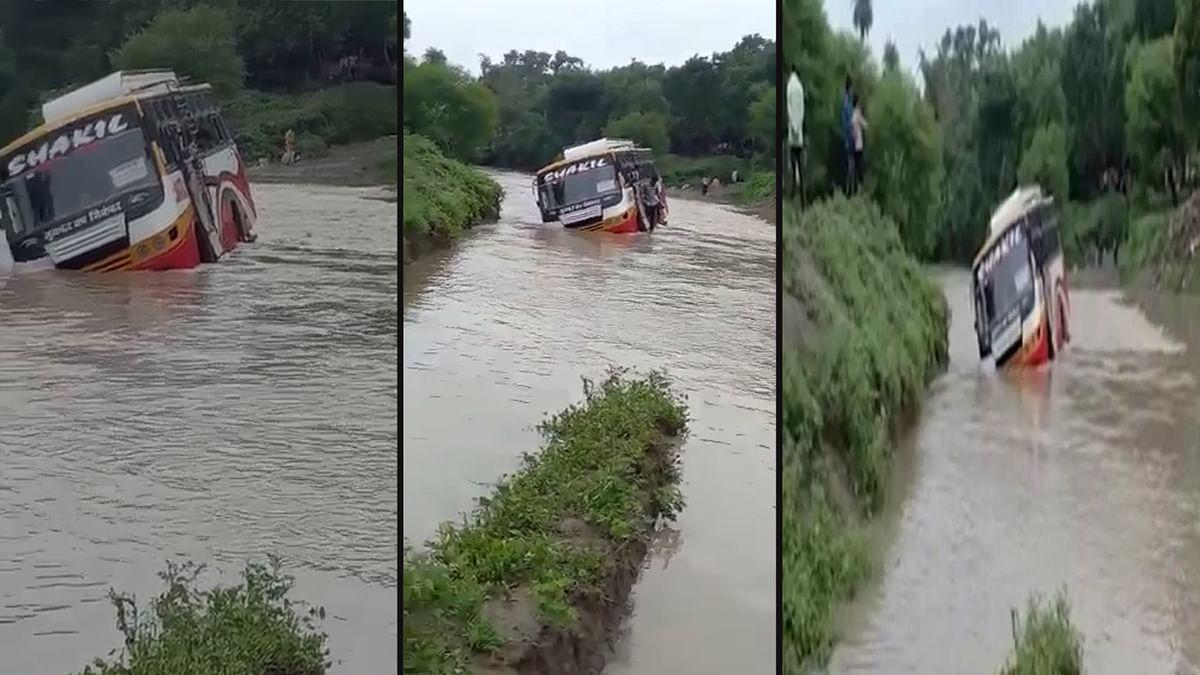 Ratlam: पुलिया पार करते समय रपटे पर लटकी यात्रियों से भरी बस, मची चीख-पुकार