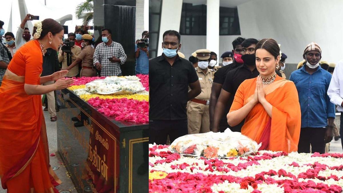 चेन्नई पहुंची कंगना, फिल्म Thalaivi की रिलीज से पहले पूर्व CM जयललिता को दी श्रद्धांजलि