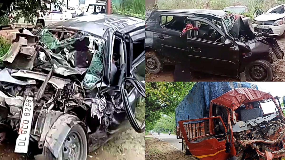 गाजियाबाद : दिल्ली-मेरठ एक्सप्रेस वे पर कार-ट्रक की टक्कर में 5 की मौत