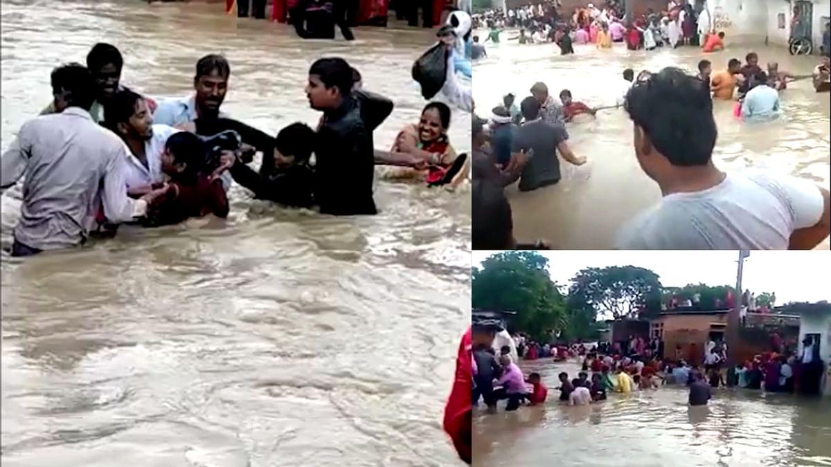 Shivpuri में उफनते नाले ने घेरा इलाका, बाढ़ में फंसे कई लोग, हर तरफ मची चीख-पुकार