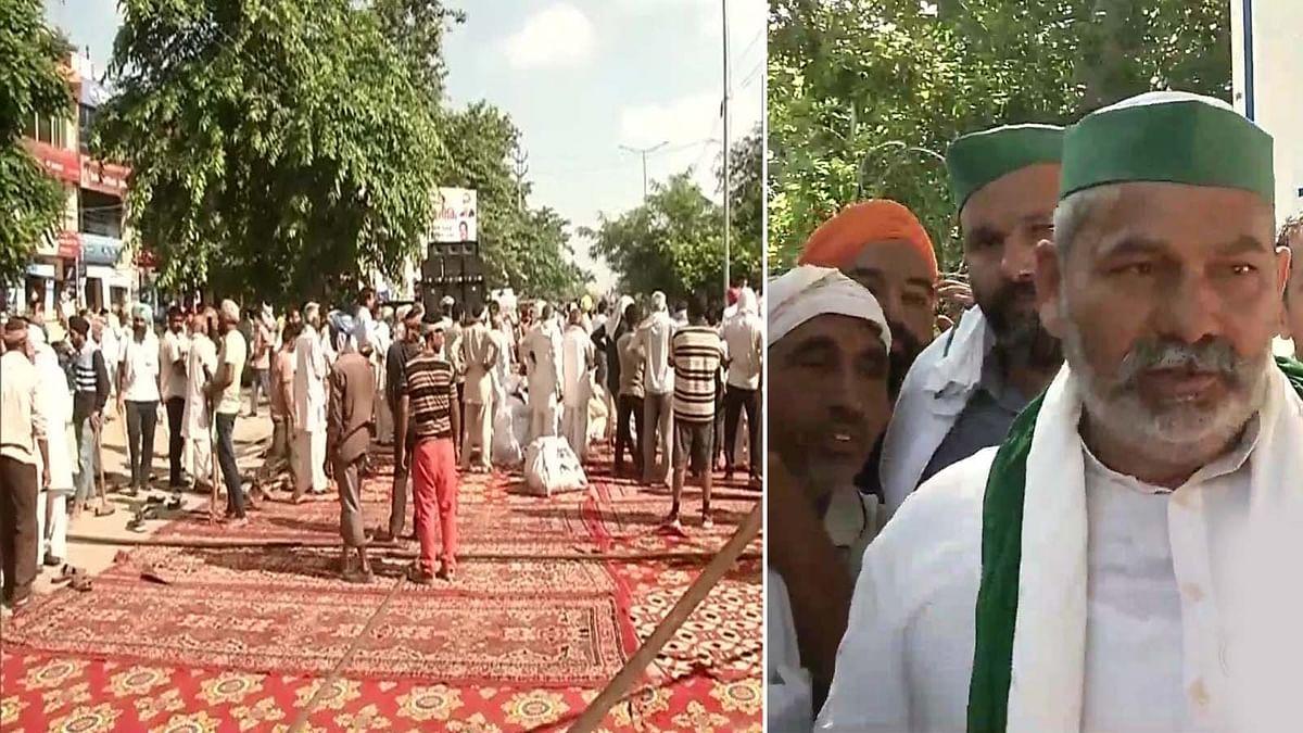 हरियाणा में करनाल में लाठीचार्ज के बाद अपनी मांगों को लेकर किसानों का विरोध प्रदर्शन