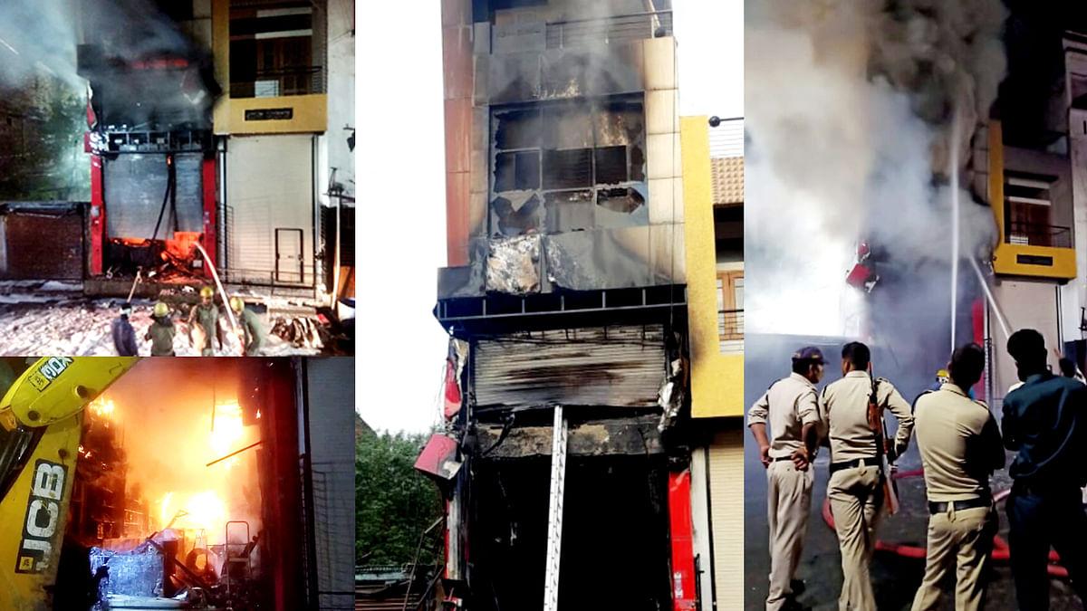Ujjain: ऑटो पार्ट्स के तीन मंजिला शो रूम में लगी भीषण आग, शो रूम जलकर खाक