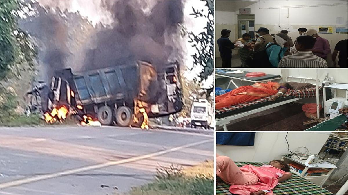 Umaria: डंपर से टकराने के बाद यात्री बस में लगी भीषण आग- एक की मौत, कई घायल