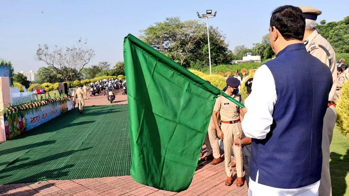 आज गृह मंत्री नरोत्तम मिश्रा ने 'बाइक रैली' पर सवार जवानों को झंडी दिखाकर किया रवाना