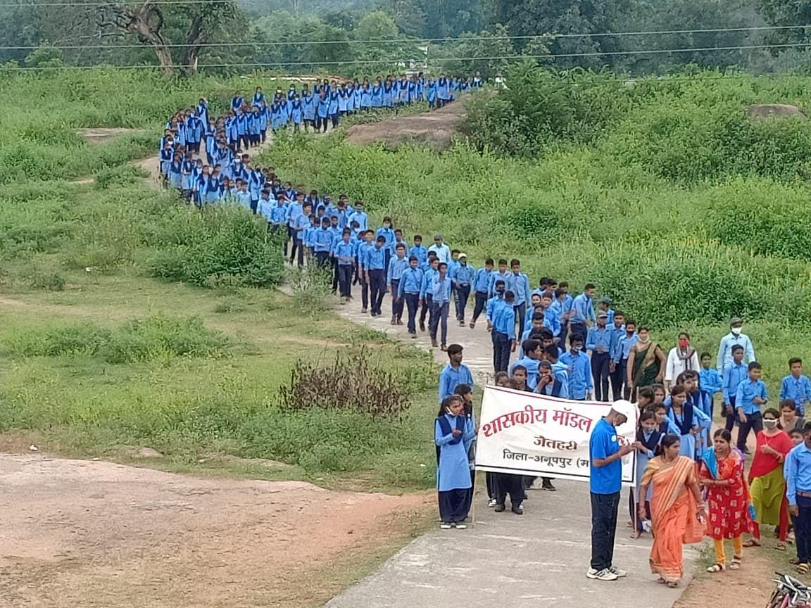 मॉडल स्कूल जैतहरी के छात्र-छात्राओं ने रैली निकाल कर दिया स्वच्छता संदेश