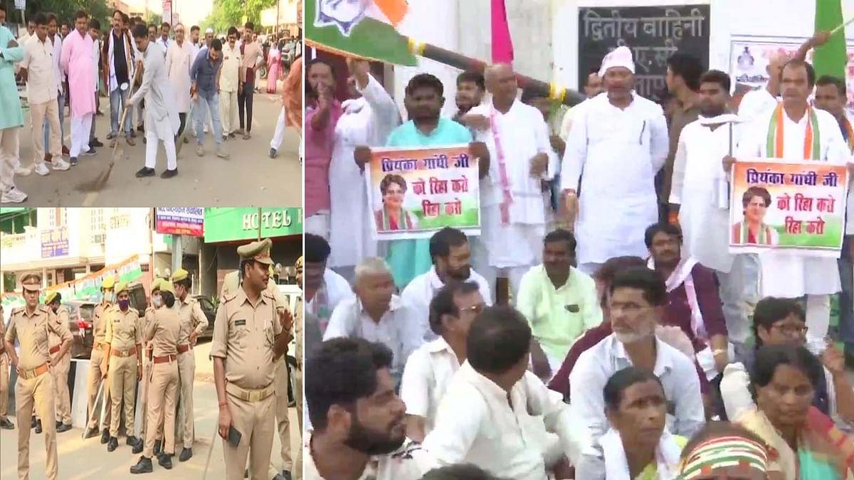 प्रियंका की रिहाई की मांग को लेकर सीतापुर में PAS गेस्ट हाउस के बाहर विरोध प्रदर्शन