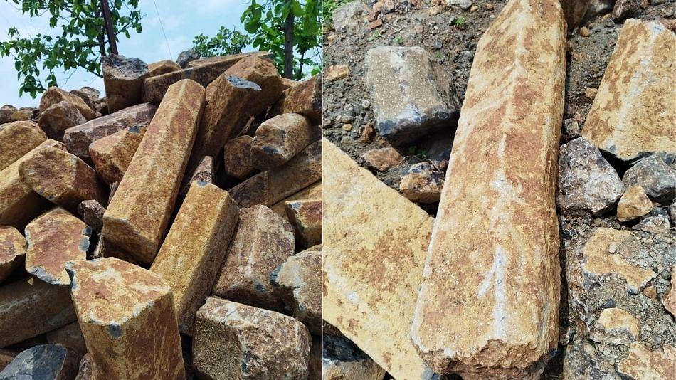 खोदकाम करताना शिबला घाटात सापडले पुरातन कोरीव दगडी खांब !