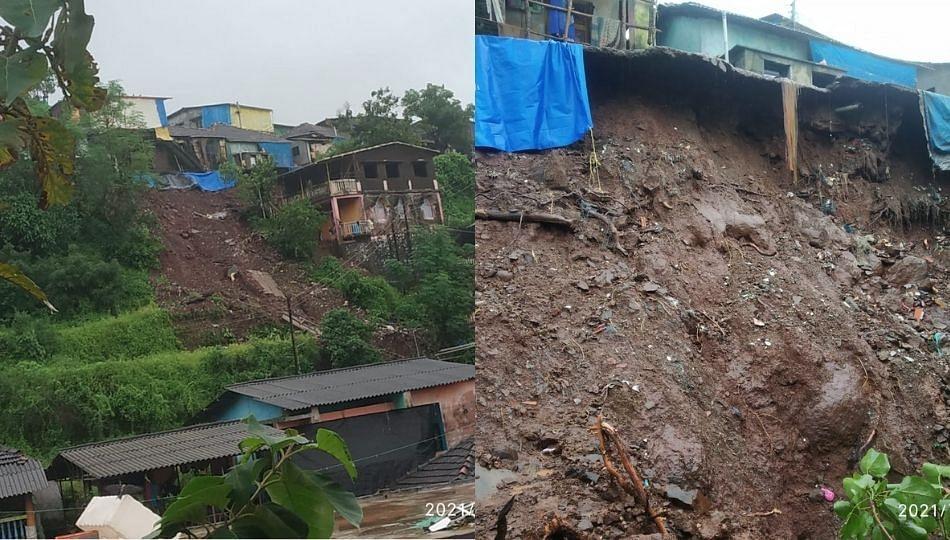 रायगड मधील राजपुरी येथे दरड कोसळली; ४ घरांचे नुकसान !