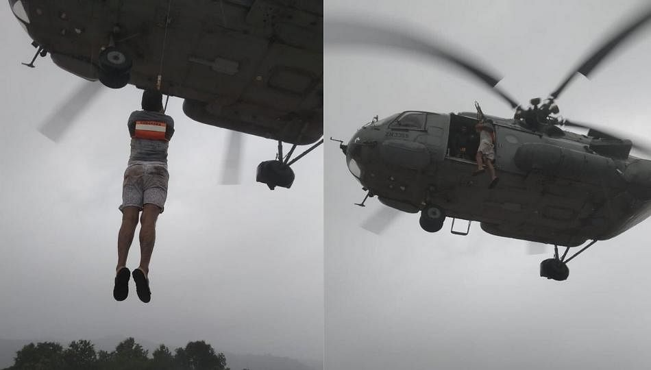 वायुसेनेकडून बचाव कार्याला सुरुवात; दाेघांना केले एअरलिप्ट