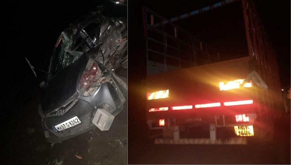 ट्रकच्या भीषण अपघातात कारचा चुराडा ४ मृत्यू