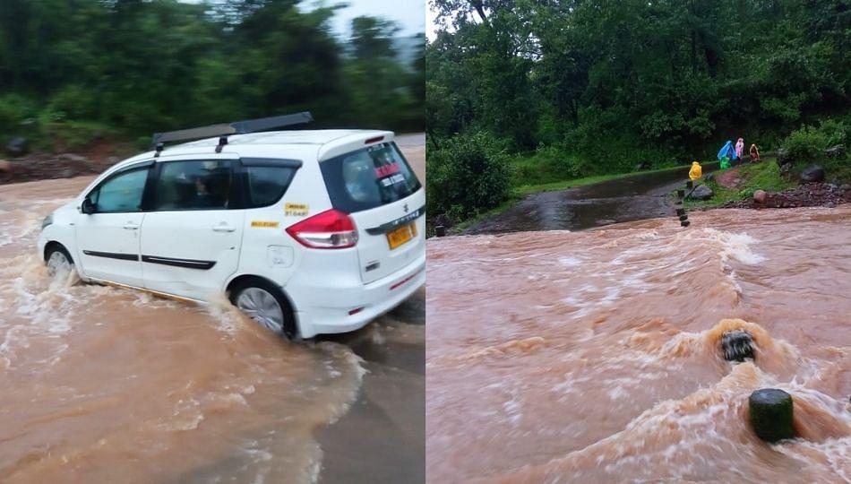 कसणी गावाजवळील पूल पाण्याखाली गेल्याने वाहतूक ठप्प