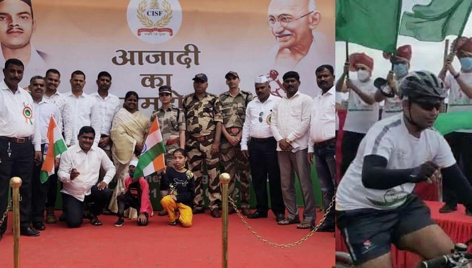 भारतीय स्वातंञ्याचा अमृत महोत्सव निमित्ताने पुणे ते दिल्ली सायकल रँली...