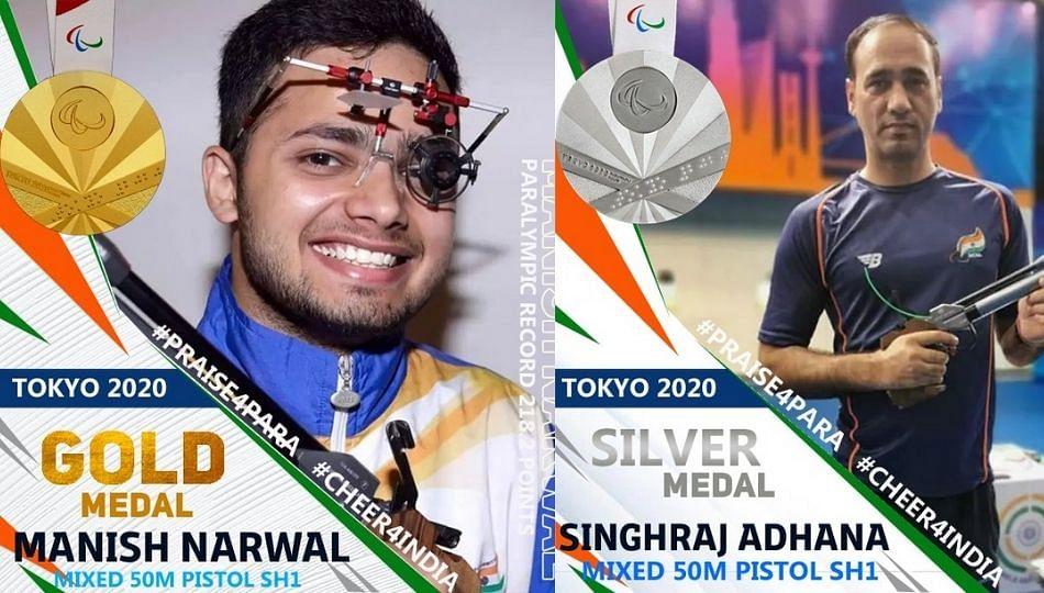 Paralympics: मनीष नरवाल ने 'सुवर्ण' तर सिंहराज ने पटकावले 'रौप्य'