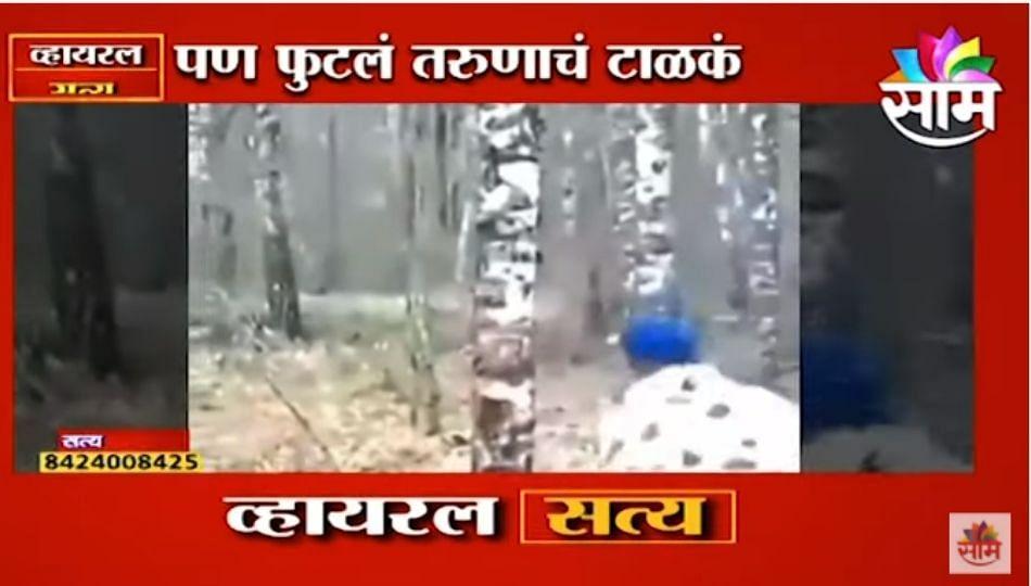 Viral Video   या तरुणाने एकाच किकमध्ये झाड पाडलं पण...पाहुन तुम्हालाही हसू आवरणार नाही