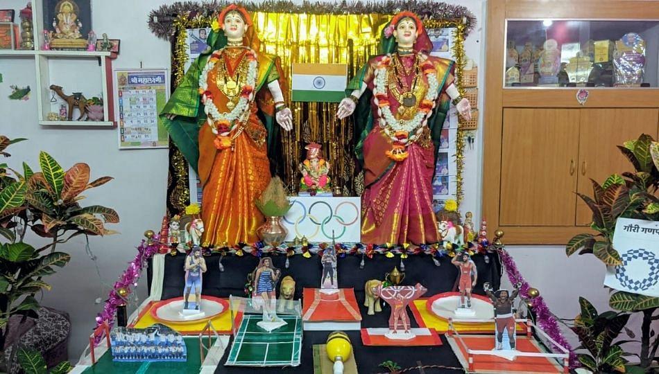 Gauri Ganpati Decoration: ऑलिम्पिकच्या मैदानावर अवतरल्या गौराई; पाहा Video