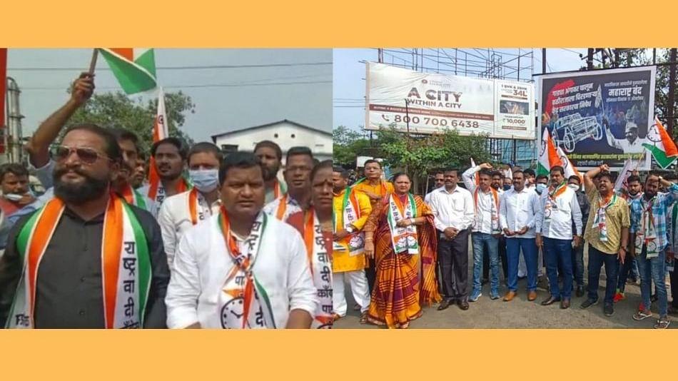 महाराष्ट्र बंद : कल्याण-शिळ रोडवर राष्ट्रवादी युवक काँग्रेसने केला रस्ता रोखो...