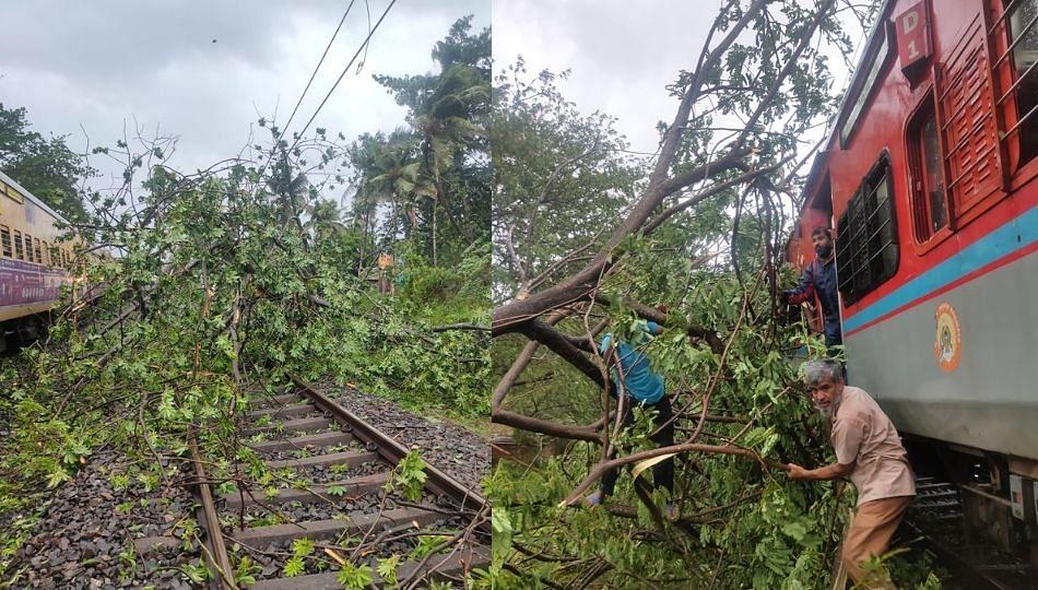 Tauktae Cyclone : कोकण रेल्वेच्या ट्रॅकवर झाडे पडली; नेत्रावती एक्स्प्रेस खोळंबली