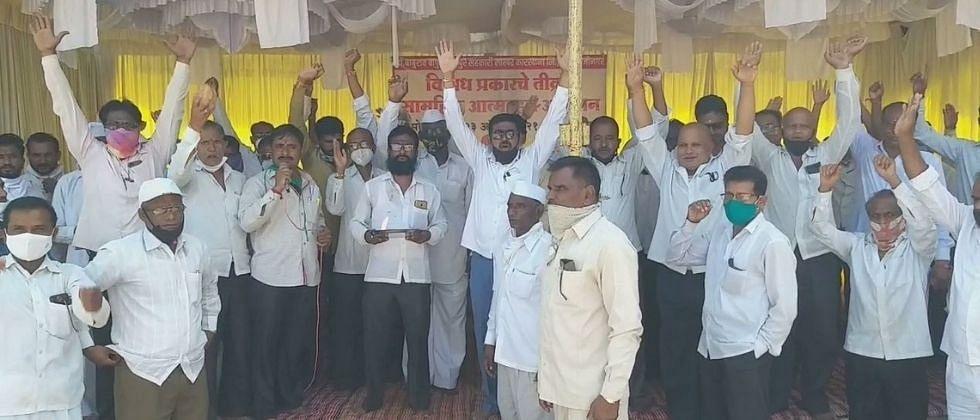 तनपुरे साखर कारखान्याच्या कर्मचाऱ्यांचे विखेंविरोधात आंदोलन