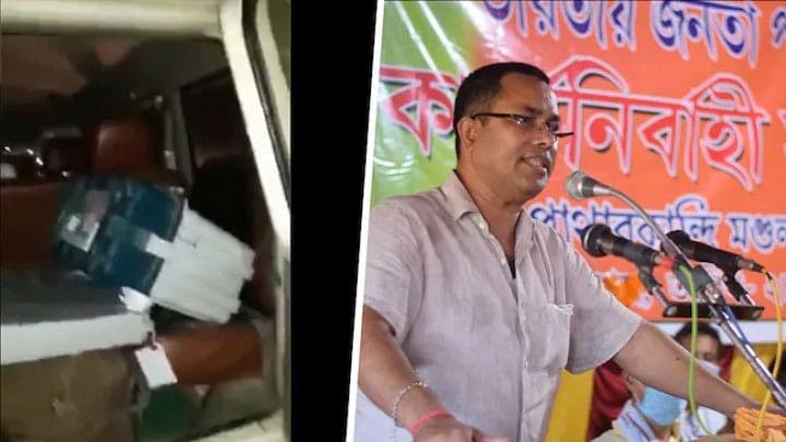 பாஜக வேட்பாளர் வாகனத்தில் பிடிபட்ட EVM இயந்திரங்கள்; பகீர் வீடியோ!!!