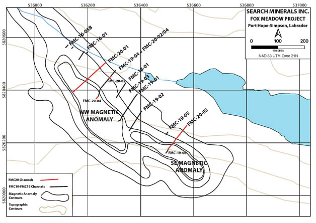 Search Minerals Outlines 2 Deposits at Meadow CREE in Se Labrador