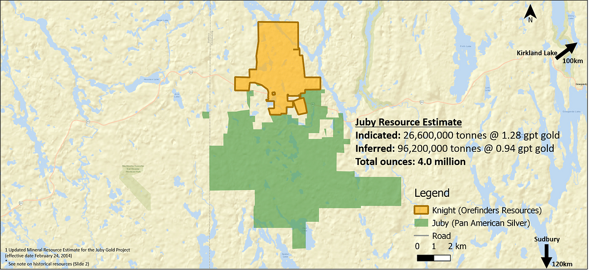 Orefinders Resources Gold Mineralization at Knight Gold Project