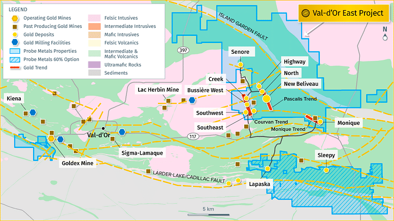 Probe Metals Update on Pascalis Gold Trend at ValdOr East Project