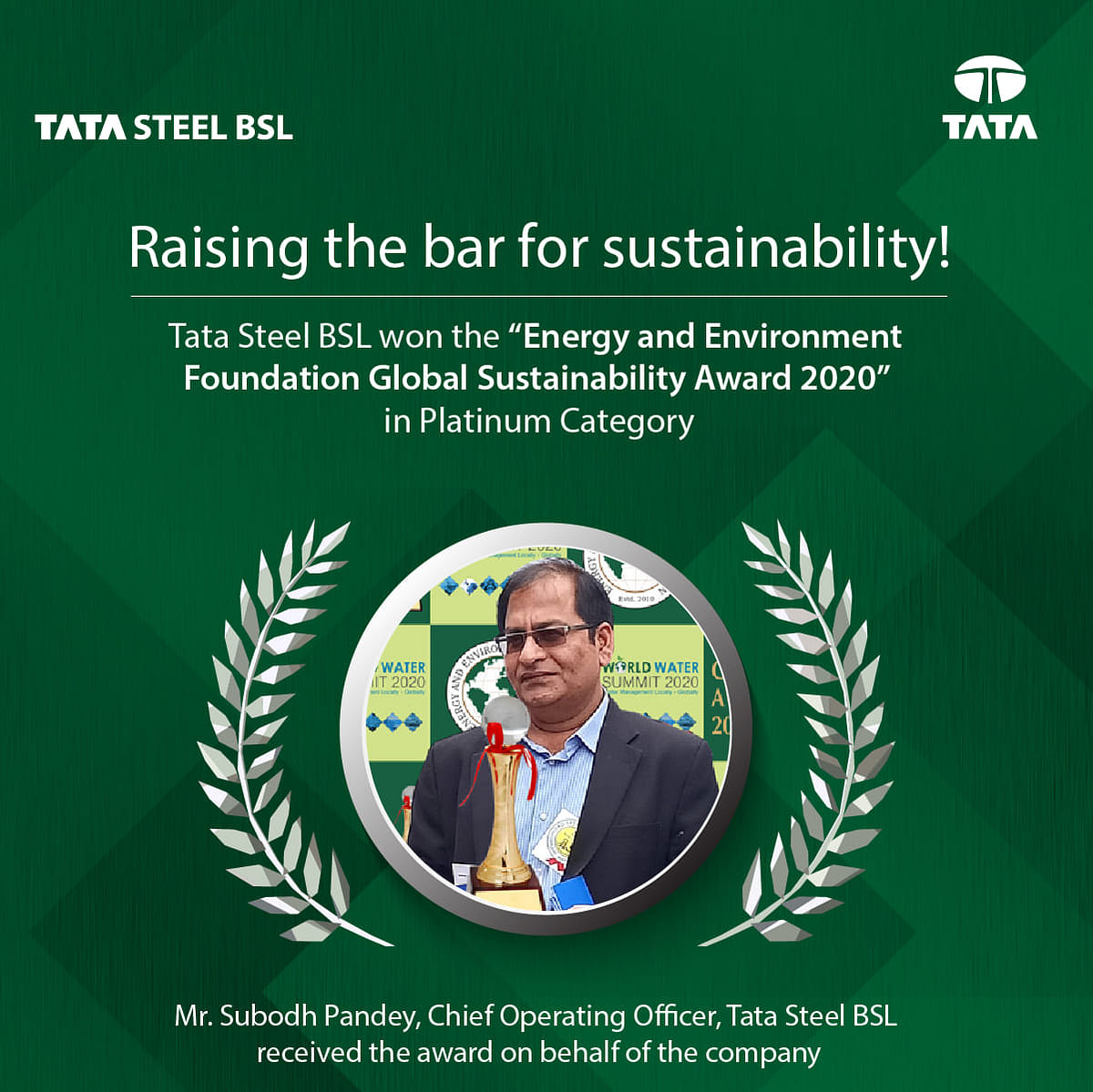 Tata Steel BSL Bags Apex India Green Leaf Award 2019