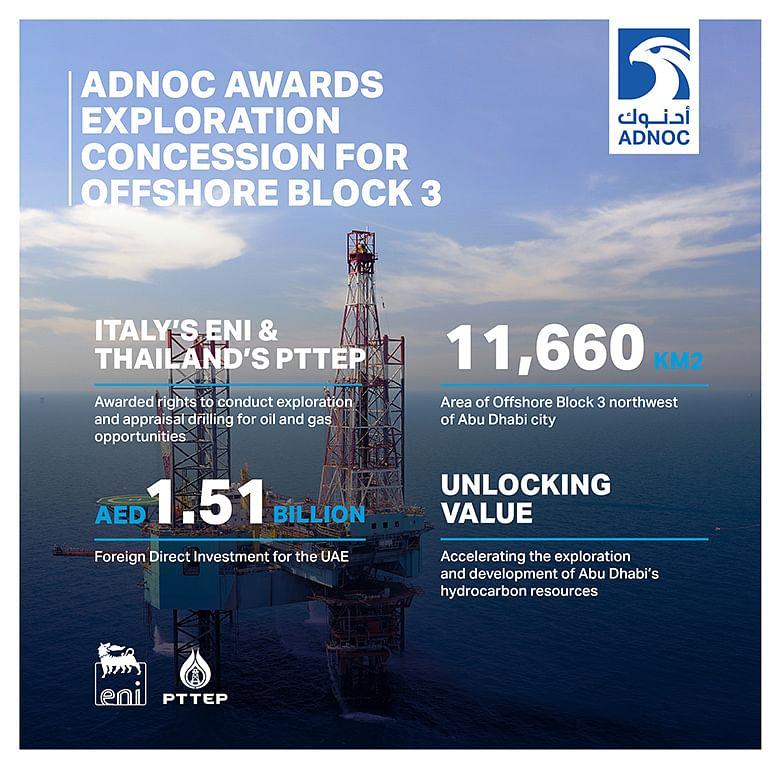 ADNOC Awards Eni & PTTEP Exploration Block in Abu Dhabi