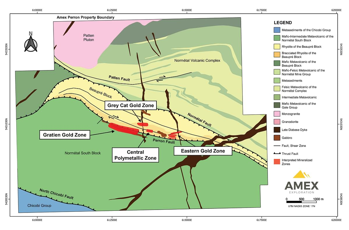 Amex Exploration Update for Eastern Gold Zone at Perron
