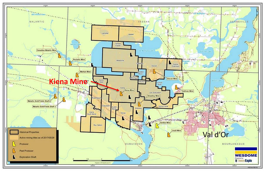 Wesdome Gold Mines Update on Kiena Mine Complex in Val d'Or