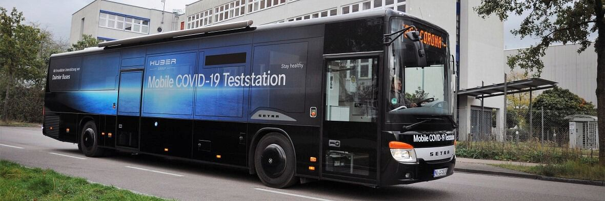 Setra Inter City Bus as Mobile COVID-19 Testing Station