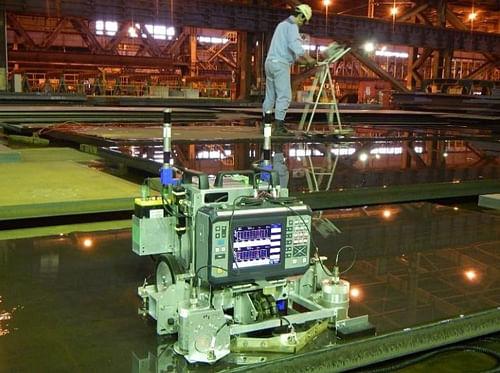 JFE Steel Ultrasonic Testing Robots for Inspecting Steel Plate