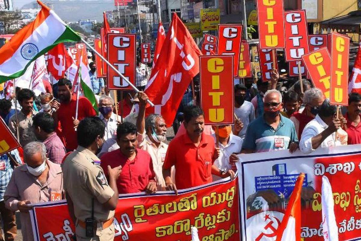 Protests against Privatisation of RINL Paralyze Andhra Pradesh