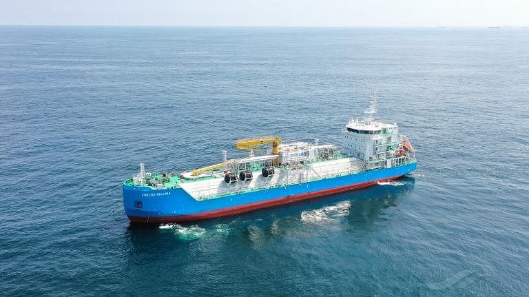 K LINE Managing LNG Bunkering Vessel FUELNG BELLINA in Singapore
