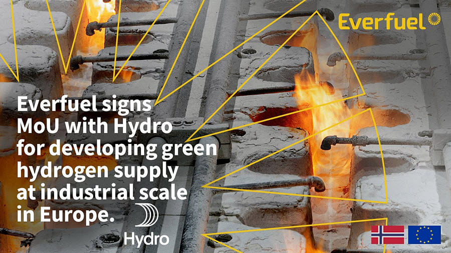 Hydro Signs MoU with Everfuel on Industrial Scale Hydrogen