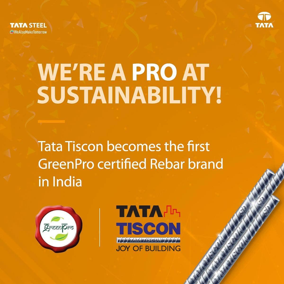 Tata Tiscon Rebar Brand Receives CII GreenPro Certification