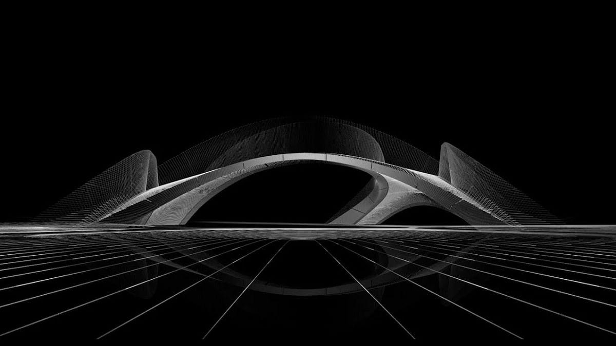 3D Concrete Printed Arched Bridge Striatus