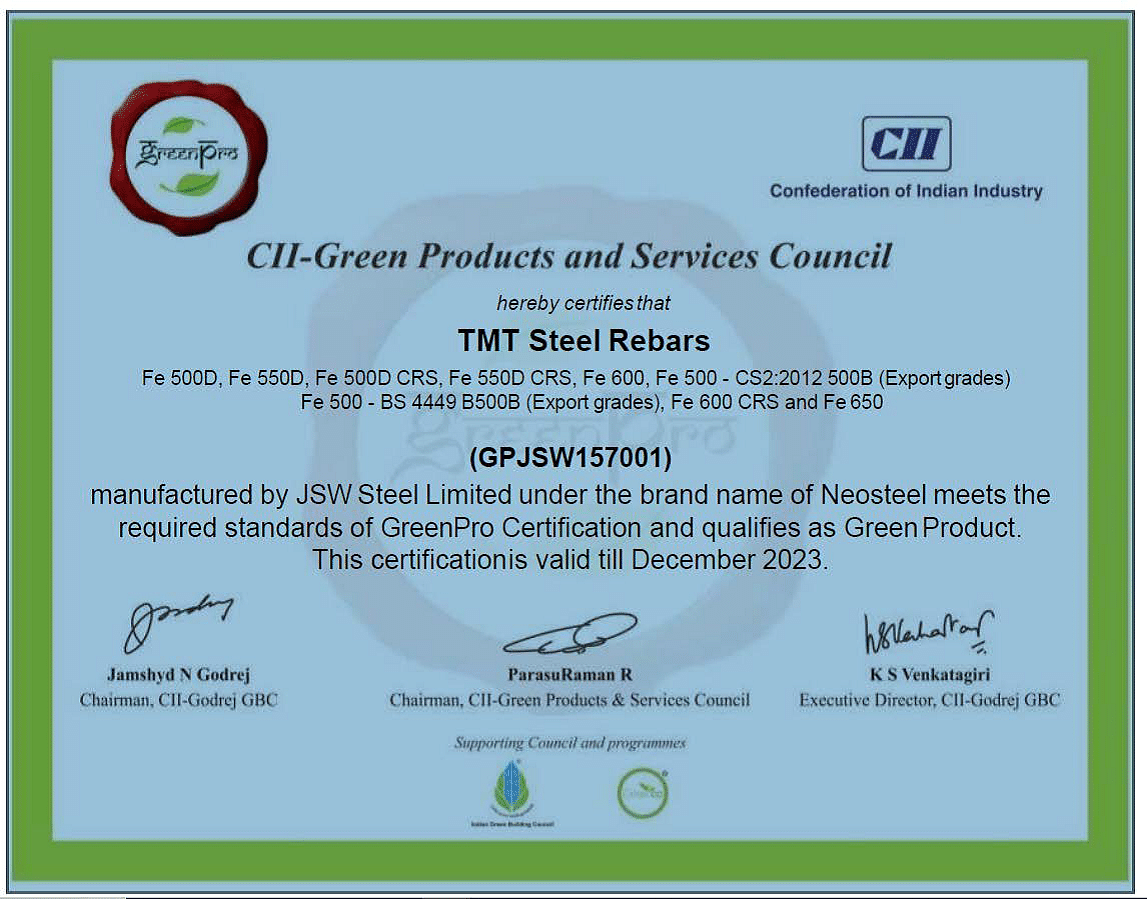 JSW Neosteel Rebar Gets GreenPro Certification from CII