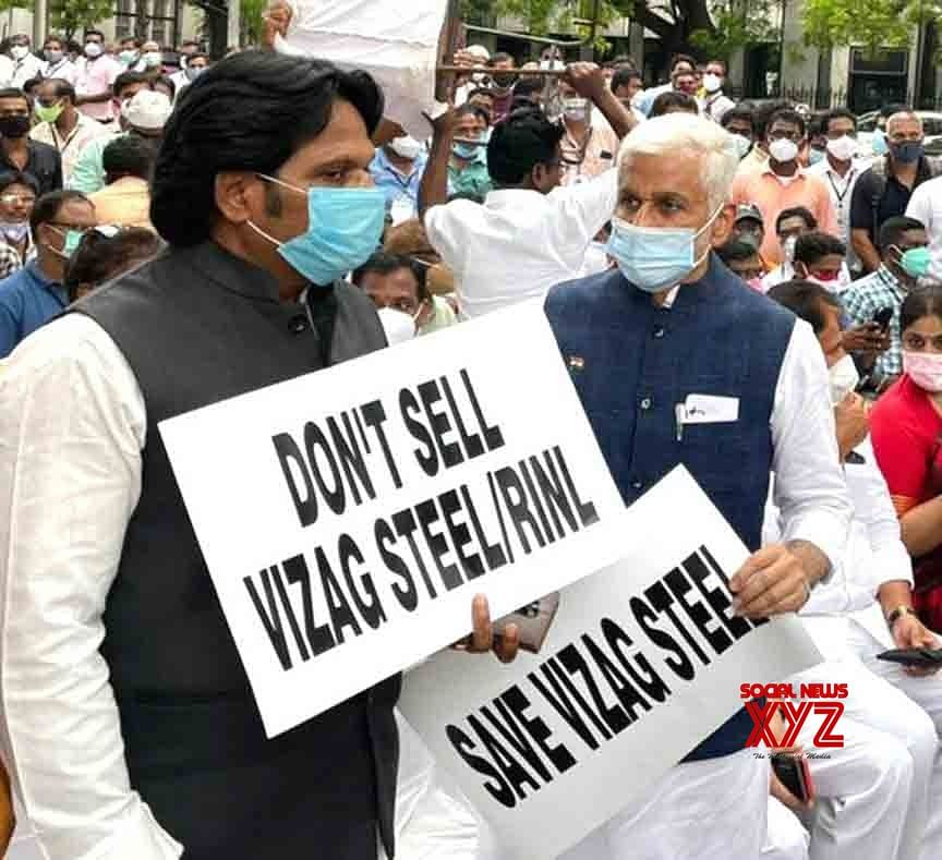 RINL Workers Stage Protest at Jantar Mantar against Privatization